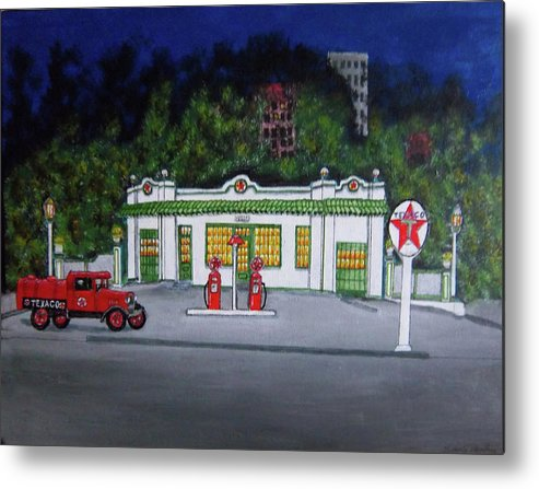 Antique Metal Print featuring the painting Merch Texaco Mansfield by Gordon Wendling