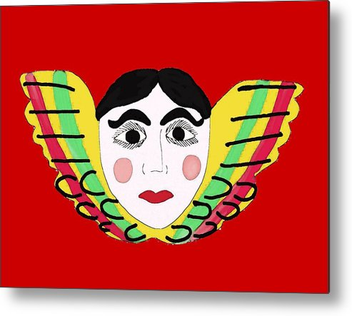 Mexican Cherub Metal Print featuring the painting Mexican Cherub by Priscilla Wolfe