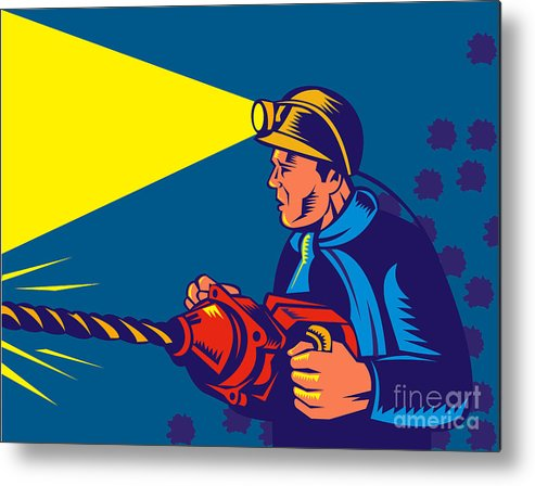 Illustration Metal Print featuring the digital art Miner With Jack Drill by Aloysius Patrimonio