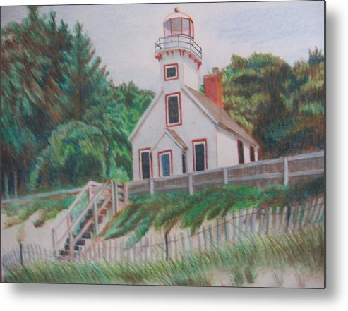 Landscape Metal Print featuring the drawing Mission Point Lighthouse by Matthew Handy