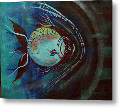 30 Inch Abstract Acrylic Aquatic Metal Print featuring the painting Moonie by Linda Powell