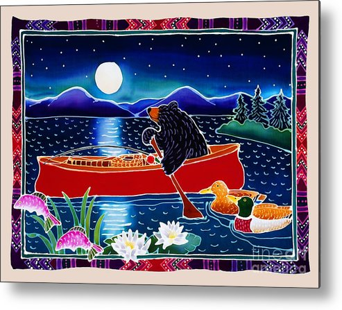 Whimsical Metal Print featuring the painting Moonlight On A Red Canoe by Harriet Peck Taylor
