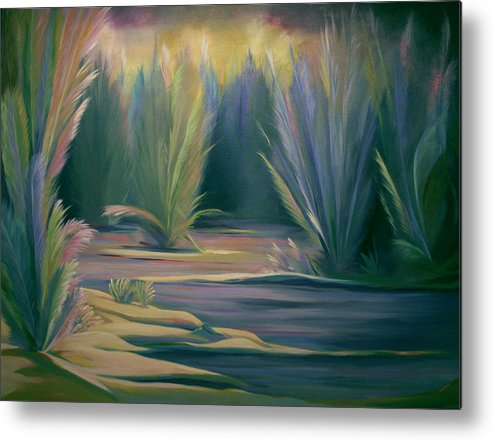 Feathers Metal Print featuring the painting Mural Field Of Feathers by Nancy Griswold