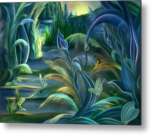 Mural Metal Print featuring the painting Mural Insects Of Enchanted Stream by Nancy Griswold