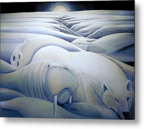 Mural Metal Print featuring the painting Mural Winters Embracing Crevice by Nancy Griswold