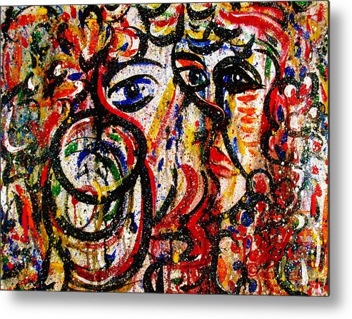 Free Expressionism Metal Print featuring the painting Mutual Admiration by Natalie Holland