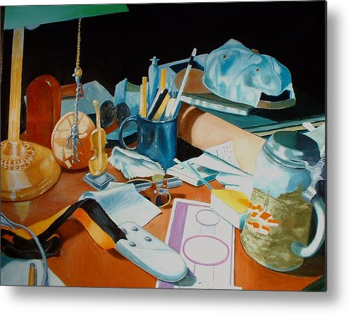 Still Life Metal Print featuring the painting My Desk by Michael Henderson
