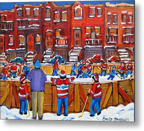 Hockeygame At The Neighborhood Rink Metal Print featuring the painting Neighborhood Hockey Rink by Carole Spandau