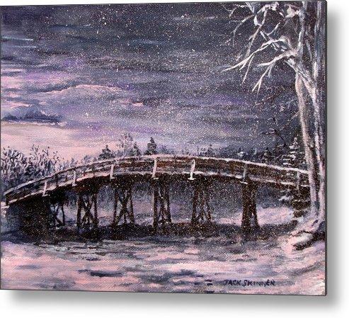 Old North Bridge Metal Print featuring the painting Old North Bridge In Winter by Jack Skinner