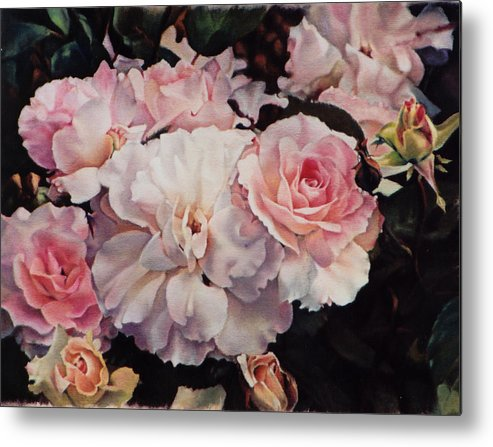 Flowers Metal Print featuring the painting Old Roses by Marion Hylton