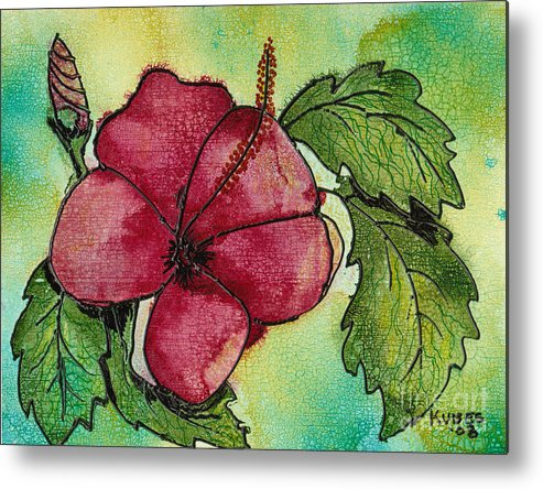 Flower Metal Print featuring the painting One Pink Hibiscus by Susan Kubes