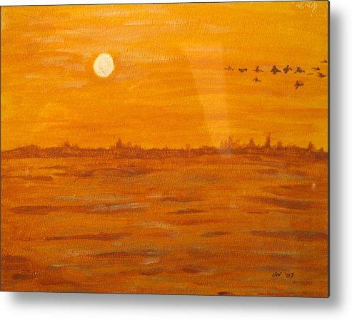 Orange Metal Print featuring the painting Orange Ocean by Ian MacDonald