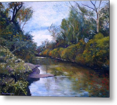 Impressionism Metal Print featuring the painting Orara River Nsw Australia 1995  by Enver Larney