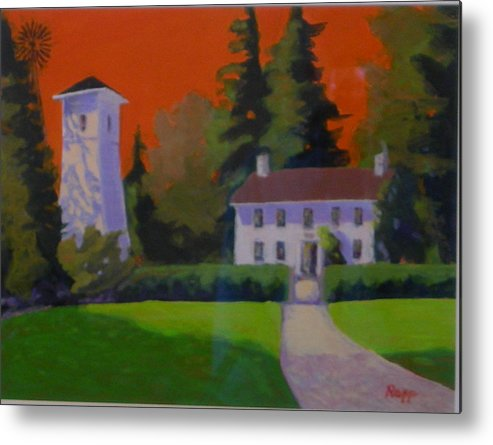 Pump House Metal Print featuring the painting Oregon Farmhouse by Jan Rapp