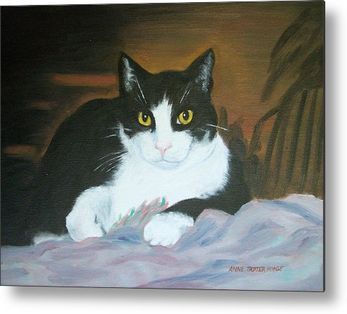 Cat Metal Print featuring the painting Oreo by Anne Trotter Hodge