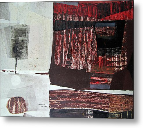 Oil Abstract Metal Print featuring the painting Os1957bo008 Abstract Landscape Of Potosi Bolivia 22.3 X 30.3 by Alfredo Da Silva
