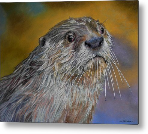 River Otter Metal Print featuring the painting Otter Or Not by Ceci Watson