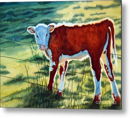 Animal Metal Print featuring the painting Outstanding In His Field by Gail Zavala