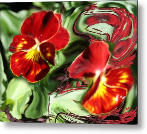 Photograph Metal Print featuring the photograph Pansy Hybrid by Jacquie King