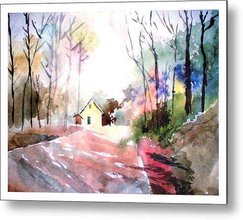 Nature Metal Print featuring the painting Path In Colors by Anil Nene
