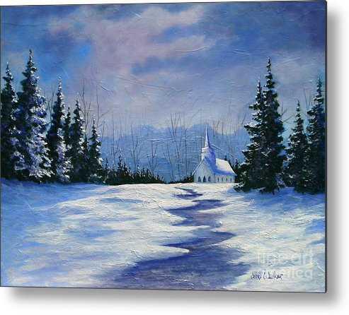Church Metal Print featuring the painting Peaceful Evening by Jerry Walker
