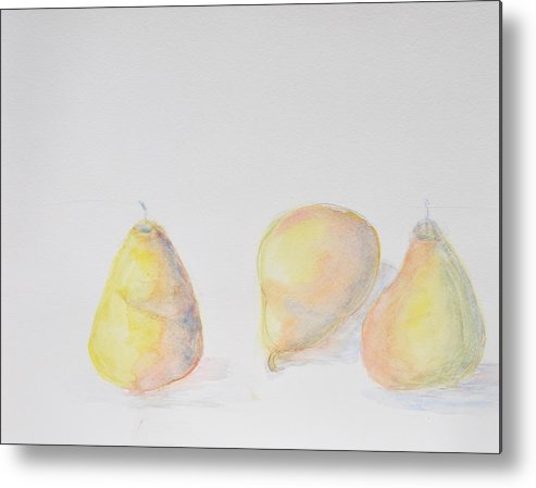 Still Life Of Three Pears Metal Print featuring the painting Pears by MaryBeth Minton