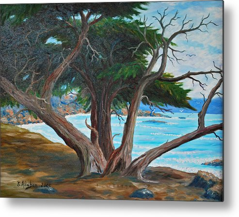 California Coast Metal Print featuring the painting Pebble Beach by Stanton D Allaben