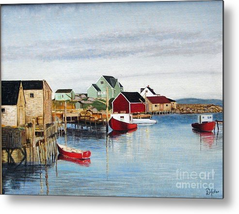 Seascape Metal Print featuring the painting Peggy's Cove by Donald Hofer