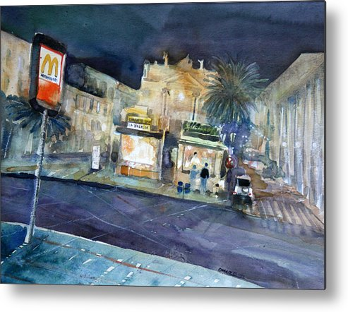 Catania Metal Print featuring the painting piazza Stesicoro at night by Omar Jaramillo