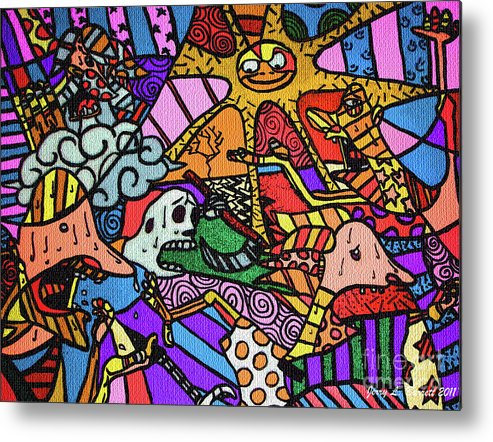 Abstract Metal Print featuring the mixed media Pirates by Jerry L Barrett