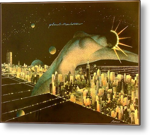 Female Metal Print featuring the painting Planet Manhattan by Gary Kaemmer