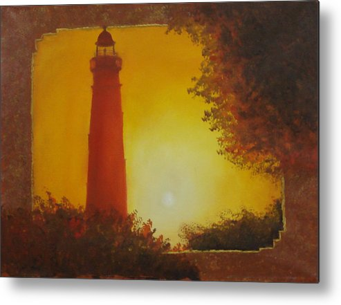 Lighthouse Metal Print featuring the painting Ponce Inlet Lighthouse by Darlene Green