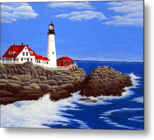 Art Metal Print featuring the painting Portland Head Lighthouse by Frederic Kohli
