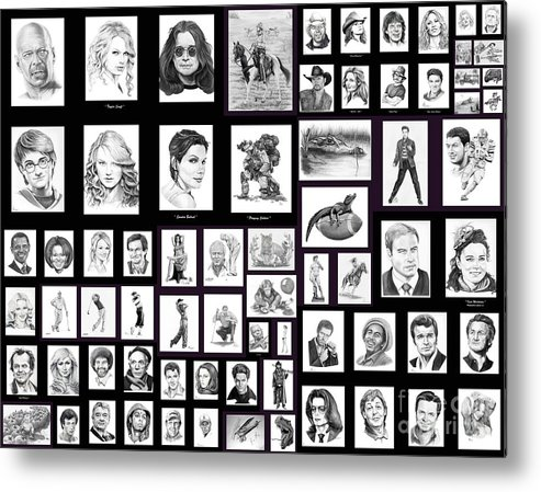 Portraits Metal Print featuring the drawing Portrait And Illustrations On Fine Art America by Murphy Elliott