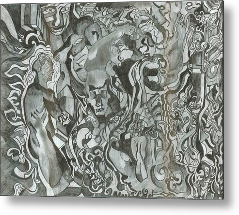 Metal Print featuring the drawing Post Doodle by Joseph Arico