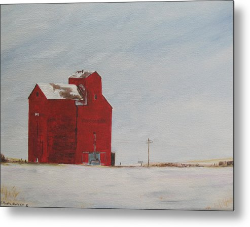 Grain Elevators Metal Print featuring the painting Prairie Giants I by Elaine Booth-Kallweit