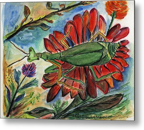 Insects Metal Print featuring the painting Praying Mantis Welcome - Closeup by Julie Richman