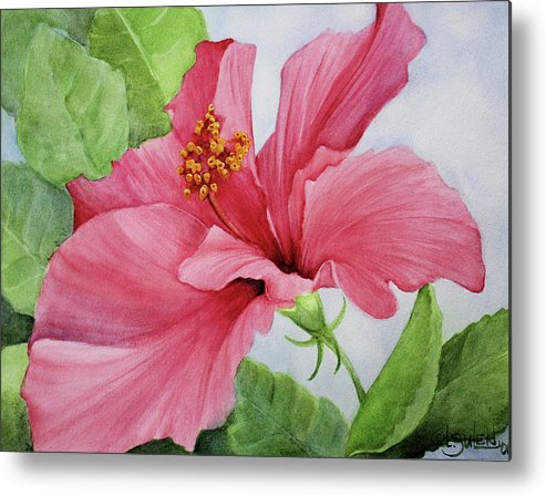 Pink Hibiscus Metal Print featuring the painting Pretty In Pink by Lorraine Ulen