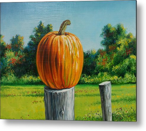 Still Life Metal Print featuring the painting Pumpkin Post by Arnold Hurley