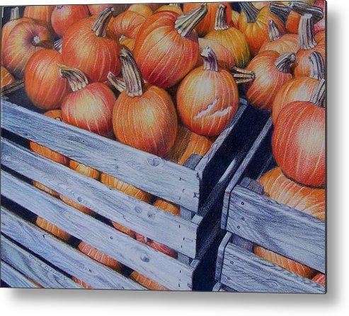 Pumpkins Metal Print featuring the painting Pumpkins Two by Constance Drescher