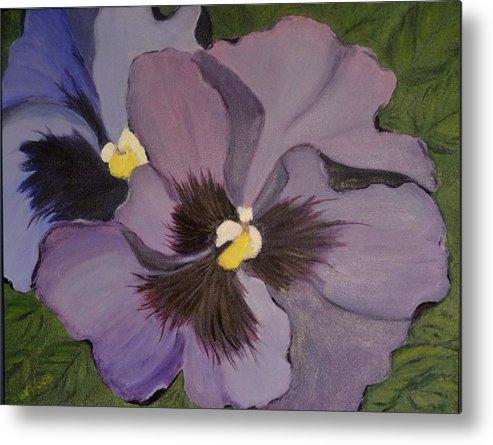 Flower Metal Print featuring the painting Purple Pansies by Nancy Sisco
