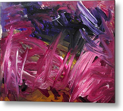 Abstract Metal Print featuring the painting Purple Power by Kitty Hansen