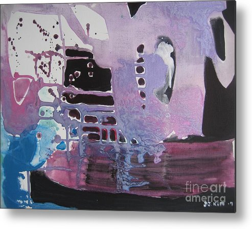 Abstract Paintings Metal Print featuring the painting Purple Seascape by Seon-Jeong Kim
