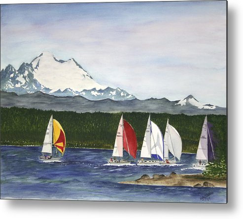 Sailboats Metal Print featuring the painting Race Week On Whidbey Island by Mary Gaines