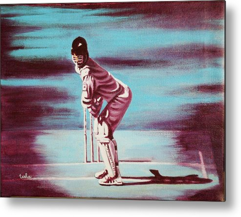 Metal Print featuring the painting Ready To Bat by Usha Shantharam