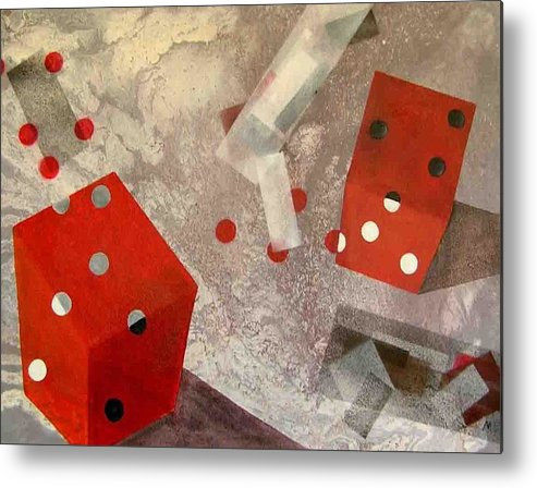 Metal Print featuring the painting Red Dice by Evguenia Men