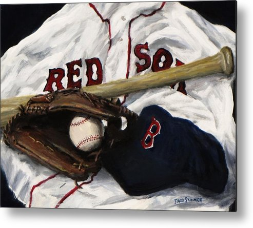 Baseball Metal Print featuring the painting Red Sox Number Nine by Jack Skinner