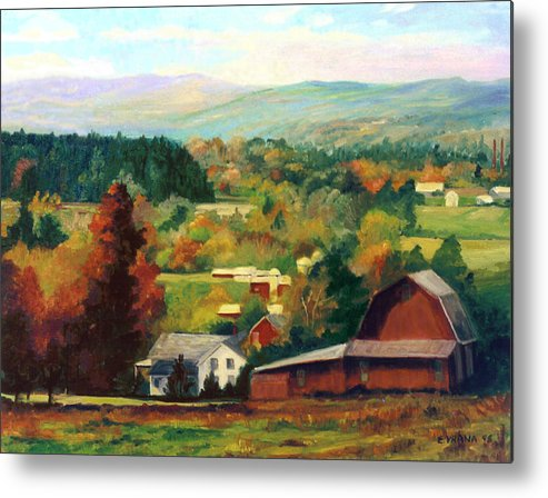 Landscape Metal Print featuring the painting Reeds Farm Ithaca New York by Ethel Vrana