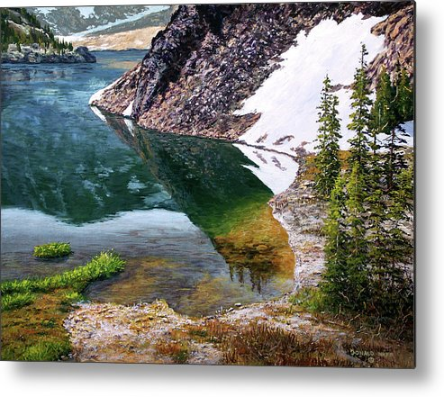Ellery Lake Metal Print featuring the painting Reflections In Ellery by Donald Neff