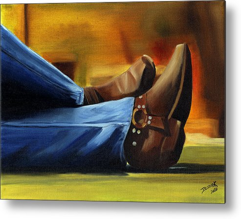 Portrait Metal Print featuring the painting Relaxing by Jessica Krogstadt